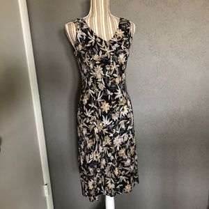 Loft V-Neck Dress Black W/ Tan Floral Pattern